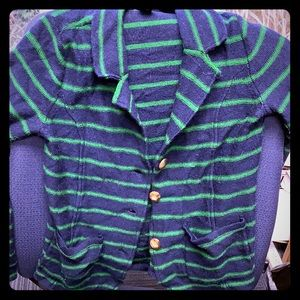 Tahari Blue & Green Striped Cardigan
